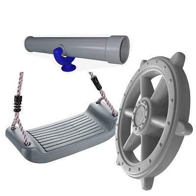 Spielturm-Set Fernrohr, Piratenlenkrad groß und Schaukelsitz grau/türkis