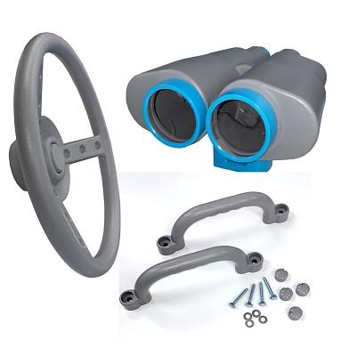 Spielturm-Set Fernglas, Lenkrad und Handgriffe grau/türkis