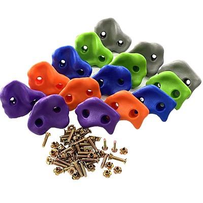 15er Set Klettersteine Kunststoff orange, blau, apfelgrün, lila, grau