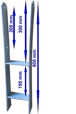 H-Pfostenanker H-Anker Pfostenträger 600x121x6mm