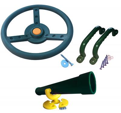 Spielturm-Set Lenkrad, Fernrohr und Handgriffe grün