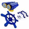 Spielturm-Set Lenkrad, Fernglas und Handgriffe bunt
