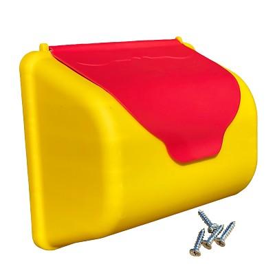 Briefkasten  gelb/rot für Spiel & Kletterturm, Kinderspielhaus, Spielplatz und Co.