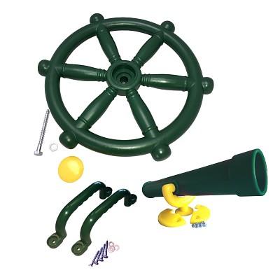 Spielturm-Set Piratenlenkrad, Fernrohr und Handgriffe grün