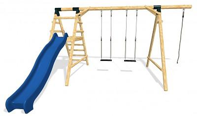 HAPPY Spielplatz Set - 2 Schaukeln mit Kletterseil und Rutsche