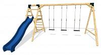 MAXIMUM Spielplatz Set - 3 Schaukeln mit Rutsche